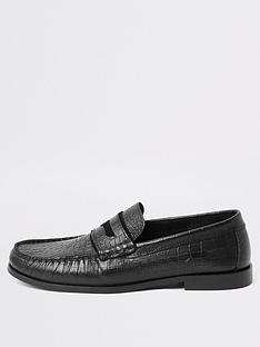 river-island-black-leather-croc-embossed-loafers