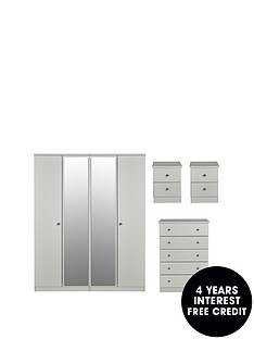 swift-verve-partnbspassembled-4-piece-package-4-door-mirrored-wardrobe-5-drawer-chest-and-2-bedside-chests