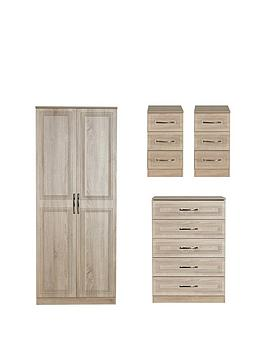 Swift Swift Winchester Ready Assembled 4 Piece Package - 2 Door Wardrobe,  ... Picture