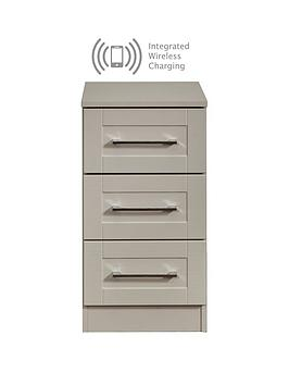 Swift Swift Larson Ready Assembled 3 Drawer Bedside Chest With Integrated  ... Picture