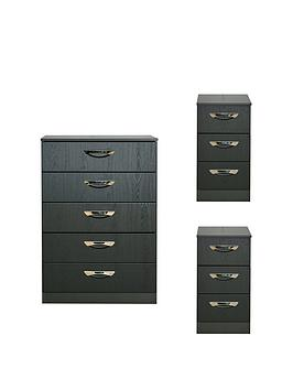 Swift Swift Canterbury 3 Piece Ready Assembled Package - 5 Drawer Chest  ... Picture