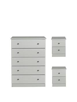 Swift Swift Verve Ready Assembled 3 Piece Package - 5 Drawer Chest And 2  ... Picture