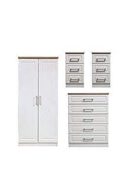 Swift Swift Regent Ready Assembled 4 Piece Package - 2 Door Wardrobe, 5  ... Picture