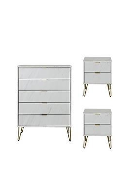Swift Swift Marbella Ready Assembled 3 Piece Package - 5 Drawer Chest And  ... Picture