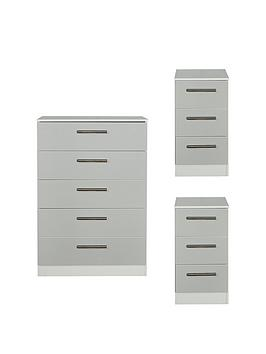 Swift Swift Montreal Gloss 3 Piece Ready Assembled Package - 5 Drawer  ... Picture