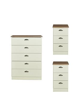 Swift Swift Charlotte 3 Piece Ready Assembled Package - 5 Drawer Chest And  ... Picture