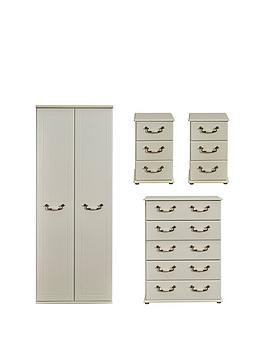 Swift Swift Broadway Ready Assembled 4 Piece Package - 2 Door Wardrobe, 5  ... Picture