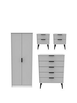 Swift Swift Copenhagen 4 Piece Ready Assembled Package - 2 Door Wardrobe,  ... Picture
