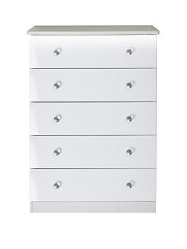 Swift Swift Lumiere 5 Drawer Chest With Lights - White Gloss Picture