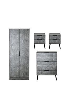 Swift Swift Berlin Ready Assembled 4 Piece Package - 2 Door Wardrobe, 5  ... Picture