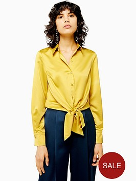 topshop-satin-knot-front-shirt-yellow
