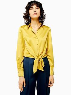 topshop-topshop-satin-knot-front-shirt-yellow