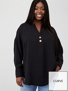 v-by-very-curve-button-dip-hem-blouse-black