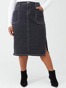 V by Very Curve V By Very Curve Contrast Stitch Denim Skirt - Black Picture