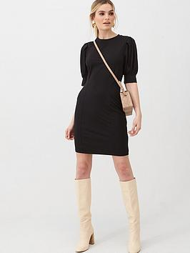 v-by-very-puff-sleeve-t-shirt-dress-black