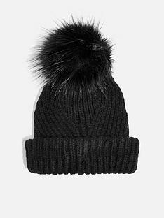 topshop-topshop-knitted-faux-fur-pom-pom-hat-black