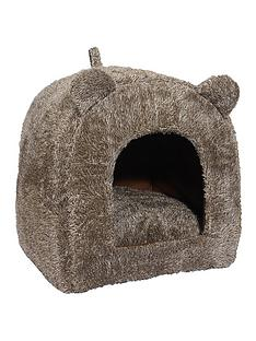 rosewood-brown-teddy-bear-cat-bed