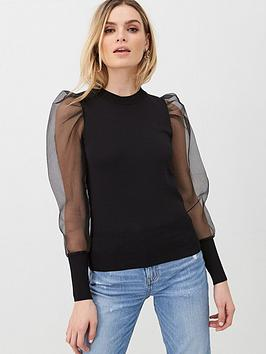 V by Very V By Very Organza Puff Sleeve Jumper - Black Picture