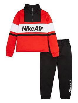 Nike Nike Sportswear Air Younger Boys 1/2 Zip Tracksuit - Red/Black Picture