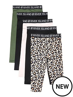 river-island-mini-mini-girls-5-pack-waistband-legging-multi