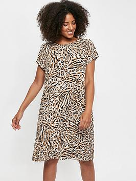 Evans Evans Ity Animal Zip Back Swing Dress - Neutral Picture