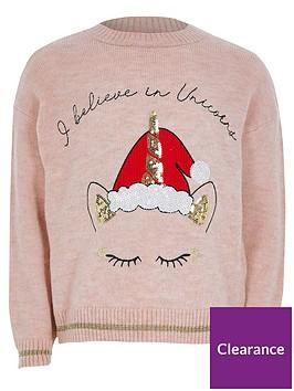 river-island-girls-unicorn-christmas-jumper-pink
