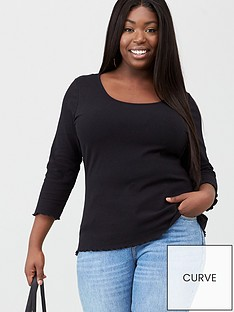v-by-very-curve-three-quarter-sleeve-lettuce-rib-tee-black