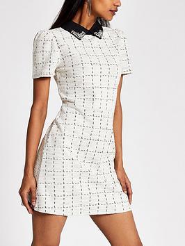 RI Petite Ri Petite Ri Petite Boucle Embellished Collar Dress-Cream Picture