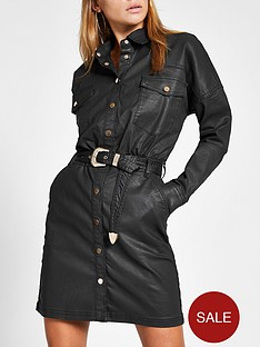 river-island-river-island-coated-denim-shirt-dress-black