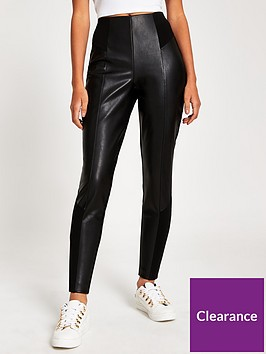 river-island-pu-ponte-mix-trouser--black