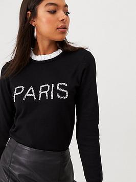 river-island-river-island-paris-frill-neck-knitted-jumper-black