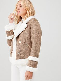river-island-river-island-snake-print-faux-suede-jacket-beige