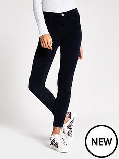 river-island-river-island-molly-mid-rise-cord-mix-skinny-navy