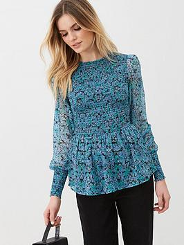 V by Very V By Very Long Sleeve Printed Shirred Yolk Blouse - Ditsy Print Picture