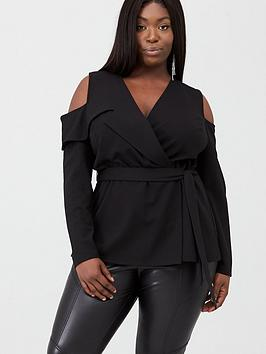 V by Very Curve V By Very Curve Cold Shoulder Top - Black Picture