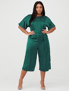 AX PARIS CURVE  Ax Paris Curve Printed Jumpsuit - Green