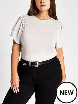 ri-plus-woven-sleeve-t-shirt-grey