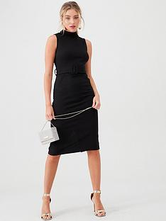 river-island-river-island-high-neck-belted-midi-bodycon-dress-black