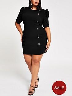 ri-plus-ri-plus-puff-sleeve-scuba-mini-dress-black