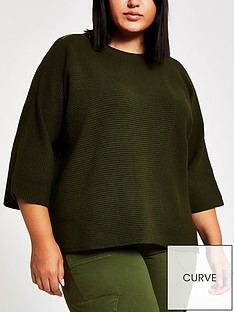 ri-plus-khaki-knitted-rib-jumper-khaki