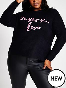 ri-plus-slogan-knitted-jumper-navy