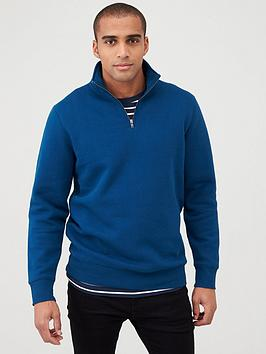 V by Very V By Very Quarter Zip Funnel Neck - Deep Blue Picture