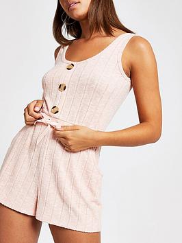 river-island-river-island-ribbed-jersey-pyjama-playsuit-pink