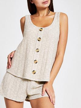 river-island-river-island-ribbed-jersey-pyjama-top-cream