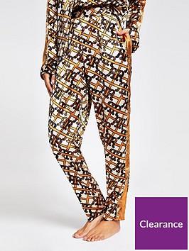 river-island-river-island-monogram-print-satin-pyjama-trouser-brown