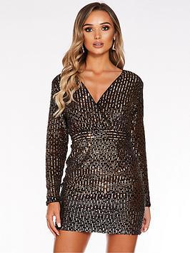 quiz-quiz-black-velvet-rose-gold-sequin-ls-cross-over-front-dress