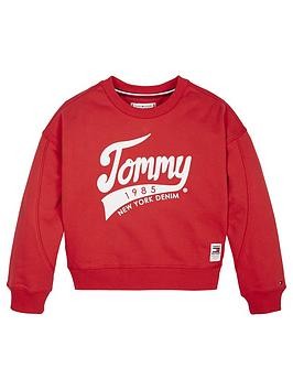 Tommy Hilfiger Tommy Hilfiger Girls 1985 Crew Sweat Top - Red Picture