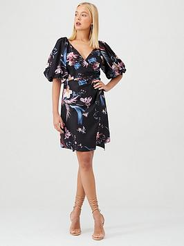 little-mistress-floral-puff-sleeve-wrap-dress-black