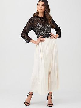 little-mistress-crochet-pleated-skirt-midaxi-dress-blackcream