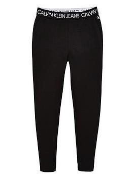 Calvin Klein Jeans Calvin Klein Jeans Girls Logo Waistband Leggings - Black Picture